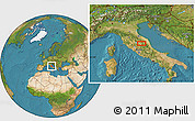 """Satellite Location Map of the area around 43°1'43""""N,12°49'29""""E"""