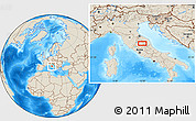 """Shaded Relief Location Map of the area around 43°1'43""""N,12°49'29""""E"""