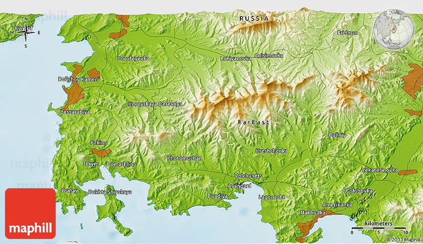 Physical D Map Of Nakhodka - Nakhodka map