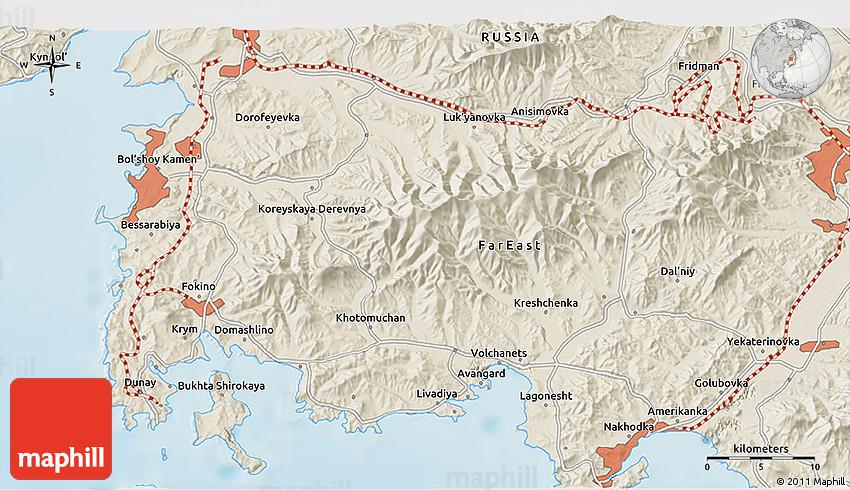 Shaded Relief D Map Of Nakhodka - Nakhodka map