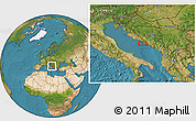 """Satellite Location Map of the area around 43°1'43""""N,17°4'30""""E"""