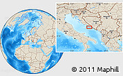 """Shaded Relief Location Map of the area around 43°1'43""""N,17°4'30""""E"""