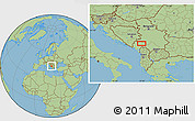 "Savanna Style Location Map of the area around 43°1'43""N,19°37'30""E"
