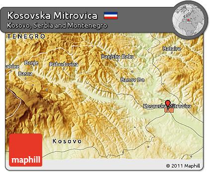 Free Physical 3D Map of Kosovska Mitrovica