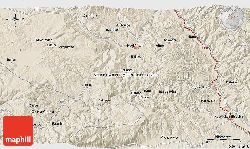 Shaded Relief 3D Map of Kosovska Mitrovica