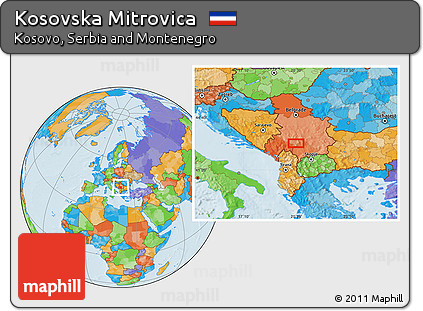 Free Political Location Map of Kosovska Mitrovica