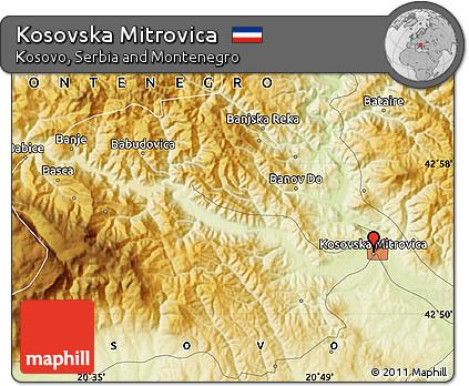 Free Physical Map of Kosovska Mitrovica