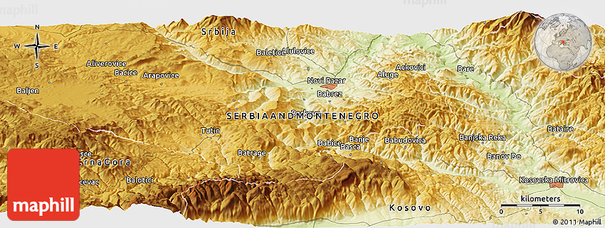 Physical Panoramic Map of Kosovska Mitrovica