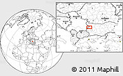 """Blank Location Map of the area around 43°1'43""""N,23°1'29""""E"""