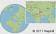 "Savanna Style Location Map of the area around 43°1'43""N,23°1'29""E"