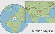 "Savanna Style Location Map of the area around 43°1'43""N,23°52'30""E"