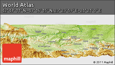 """Physical Panoramic Map of the Area around 43°1'43""""N,23°52'30""""E"""