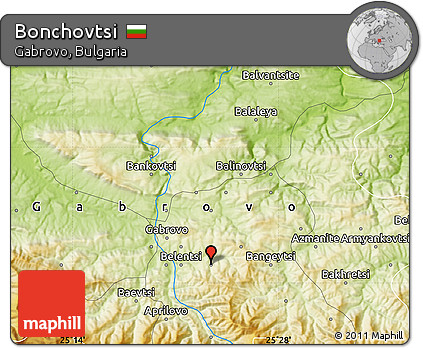 Physical Map of Bonchovtsi