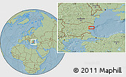Savanna Style Location Map of Varna, hill shading