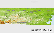 "Physical Panoramic Map of the area around 43° 1' 43"" N, 2° 37' 30"" E"