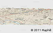 """Shaded Relief Panoramic Map of the area around 43°1'43""""N,3°19'30""""W"""