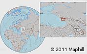 Gray Location Map of Sokhumi, hill shading