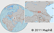Gray Location Map of Vladikavkaz, hill shading