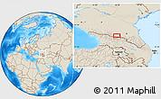 Shaded Relief Location Map of Vladikavkaz