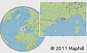 "Savanna Style Location Map of the area around 43°1'43""N,5°10'30""E"