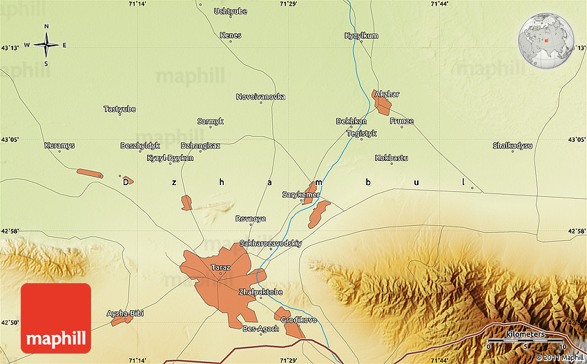 Physical Map Of Taraz - Taraz map