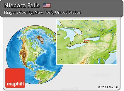 Free Physical Location Map Of Niagara Falls - Us map with niagara falls