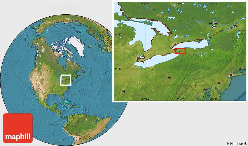 Satellite Location Map Of Niagara Falls