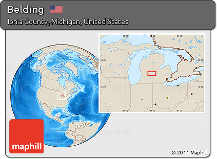Free Shaded Relief Location Map Of Belding
