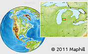 """Physical Location Map of the area around 43°1'43""""N,85°46'30""""W"""