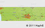 """Physical Panoramic Map of the area around 43°1'43""""N,85°46'30""""W"""