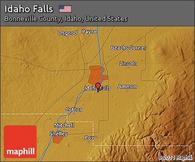 Free Physical Map of Idaho Falls