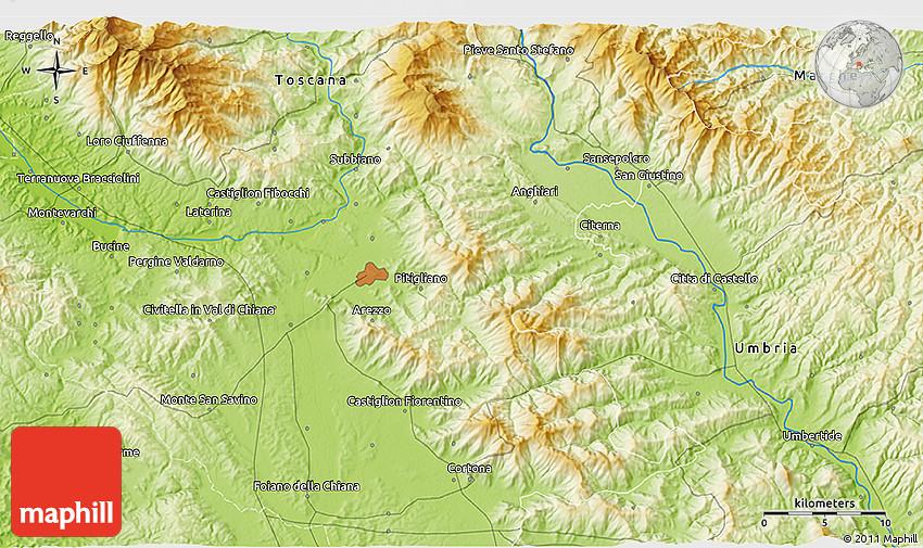 Anghiari Italy Map.Physical 3d Map Of Anghiari