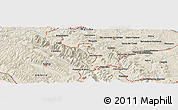 """Shaded Relief Panoramic Map of the area around 43°27'40""""N,12°49'29""""E"""