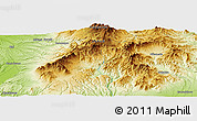 """Physical Panoramic Map of the area around 43°27'40""""N,142°52'30""""E"""