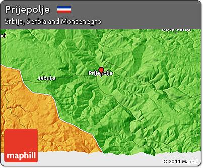 Free Political 3d Map Of Prijepolje