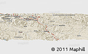 """Shaded Relief Panoramic Map of the area around 43°27'40""""N,19°37'30""""E"""