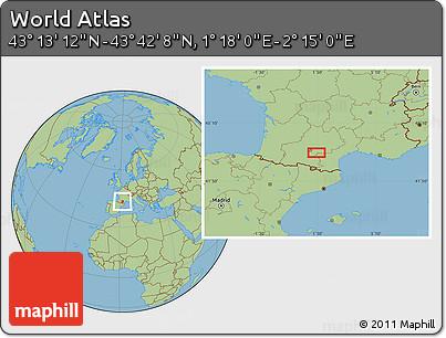 "Savanna Style Location Map of the Area around 43°27'40""N,1°46'29""E"