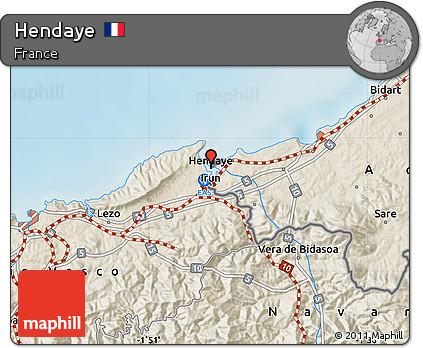 Hendaye France Map.Free Shaded Relief Map Of Hendaye
