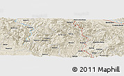 """Shaded Relief Panoramic Map of the area around 43°27'40""""N,20°28'30""""E"""