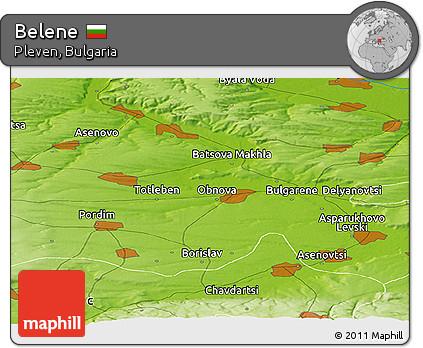 Physical Panoramic Map of Belene