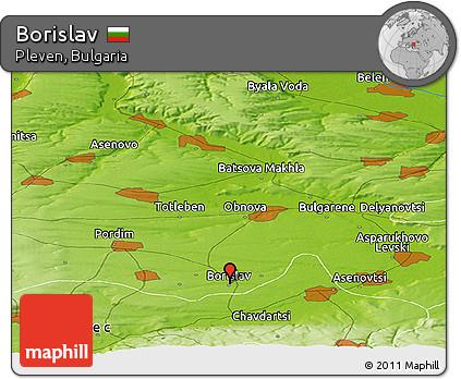 Physical Panoramic Map of Borislav