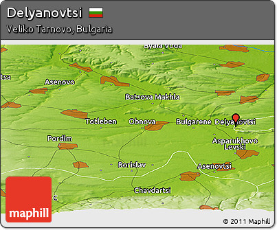 Physical Panoramic Map of Delyanovtsi