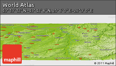 """Physical Panoramic Map of the Area around 43°27'40""""N,25°34'30""""E"""