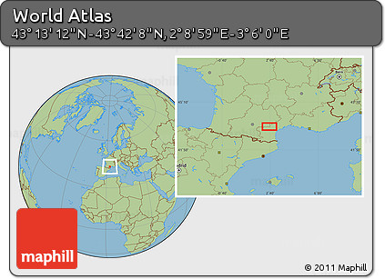 "Savanna Style Location Map of the Area around 43°27'40""N,2°37'30""E"