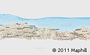 """Shaded Relief Panoramic Map of the area around 43°27'40""""N,3°19'30""""W"""