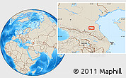 Shaded Relief Location Map of Groznyy