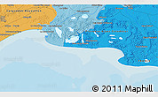 Political 3D Map of Pont de Chamet