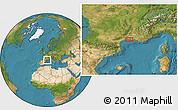 Satellite Location Map of Montpellier