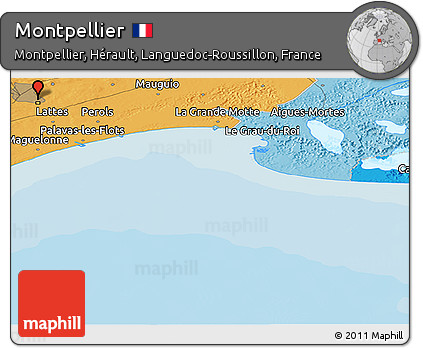 Political Panoramic Map of Montpellier