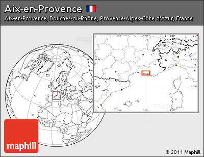 Blank Location Map of Aix-en-Provence
